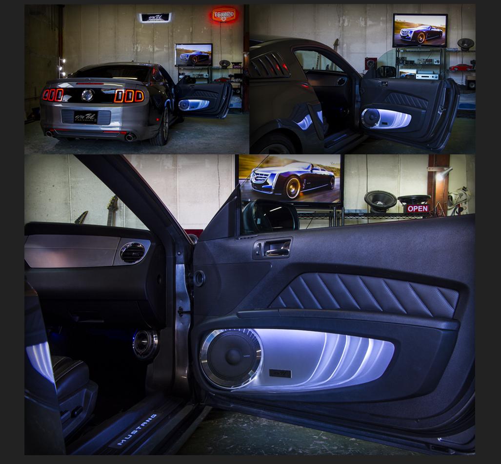 カスタム カー オーディオ オンユーファクトリー フォード マスタング Ford MUSTANG フロントドアスピーカー:トゥイター:Rockford Fosgateロックフォード PP4-T、ミッドレンジスピーカー:Rockford Fosgateロックフォード PM-180