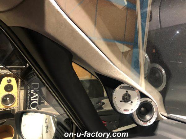 オンユーファクトリー onufactory DYNAUDIO ディナウディオ ESOTAR2 エソター2 HELIX DSPPRO2 ヘリックス CYBERNAVIX サイバーナビX アウターバッフル スラントバッフル  Aピラー加工 Aピラーツィーター埋め込み カスタムカーオーディオ オーディオカスタム オーディオインストール カーオーディオカスタム